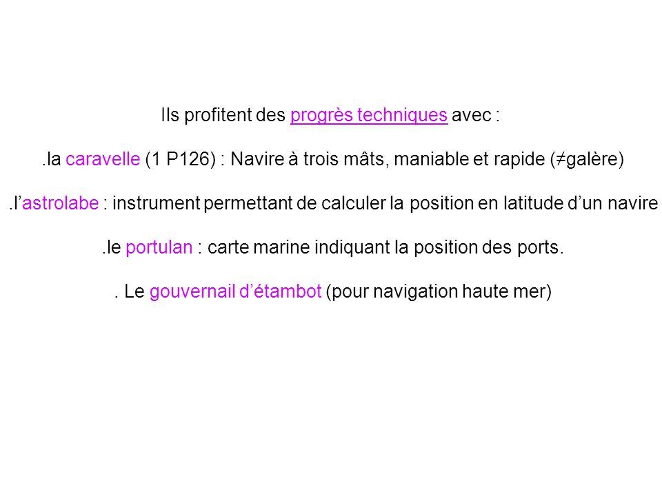 Ils profitent des progrès techniques avec :.la caravelle (1 P126) : Navire à trois mâts, maniable et rapide (galère).lastrolabe : instrument permettan