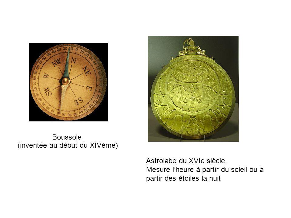 Boussole (inventée au début du XIVème) Astrolabe du XVIe siècle. Mesure lheure à partir du soleil ou à partir des étoiles la nuit