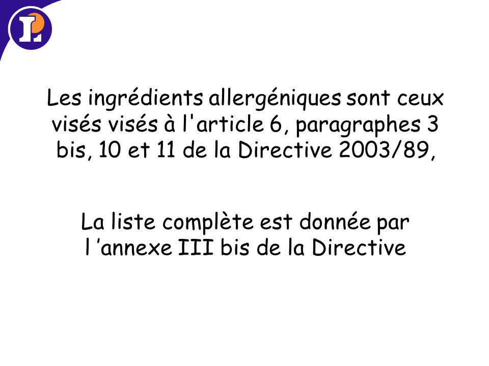 Les ingrédients allergéniques sont ceux visés visés à l article 6, paragraphes 3 bis, 10 et 11 de la Directive 2003/89, La liste complète est donnée par l annexe III bis de la Directive