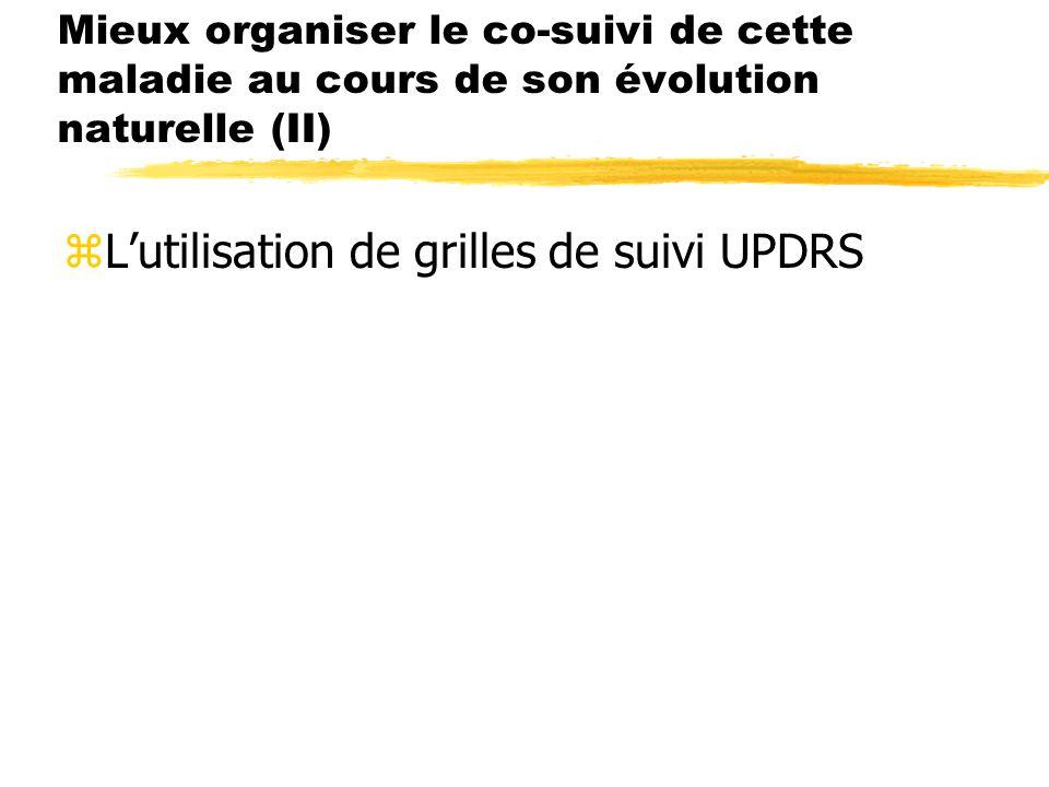 Mieux organiser le co-suivi de cette maladie au cours de son évolution naturelle (II) zLutilisation de grilles de suivi UPDRS