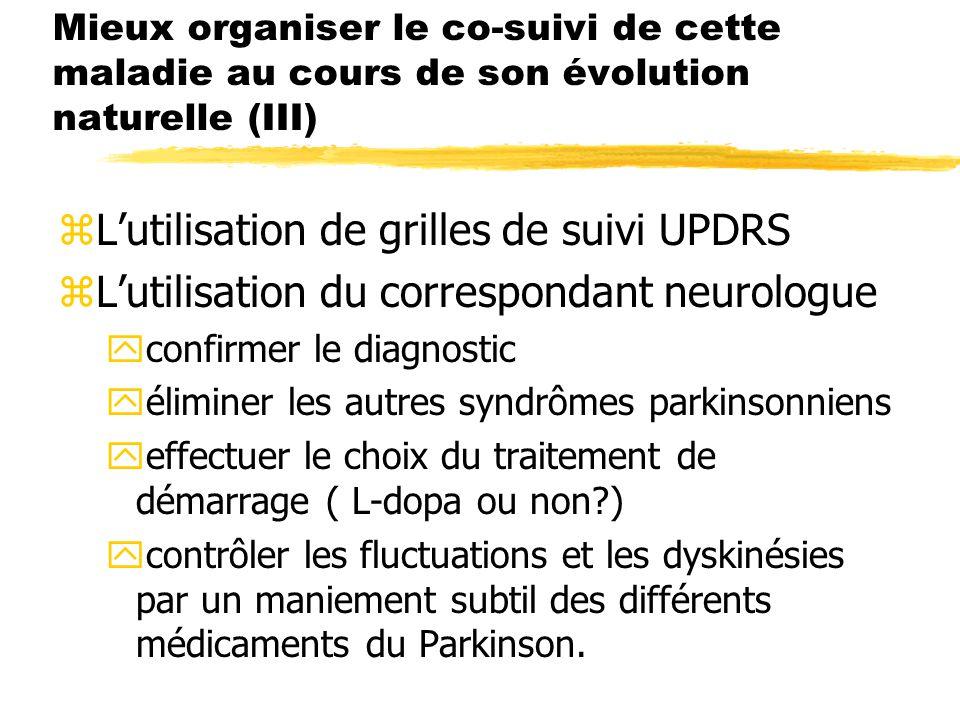 Mieux organiser le co-suivi de cette maladie au cours de son évolution naturelle (III) zLutilisation de grilles de suivi UPDRS zLutilisation du corres