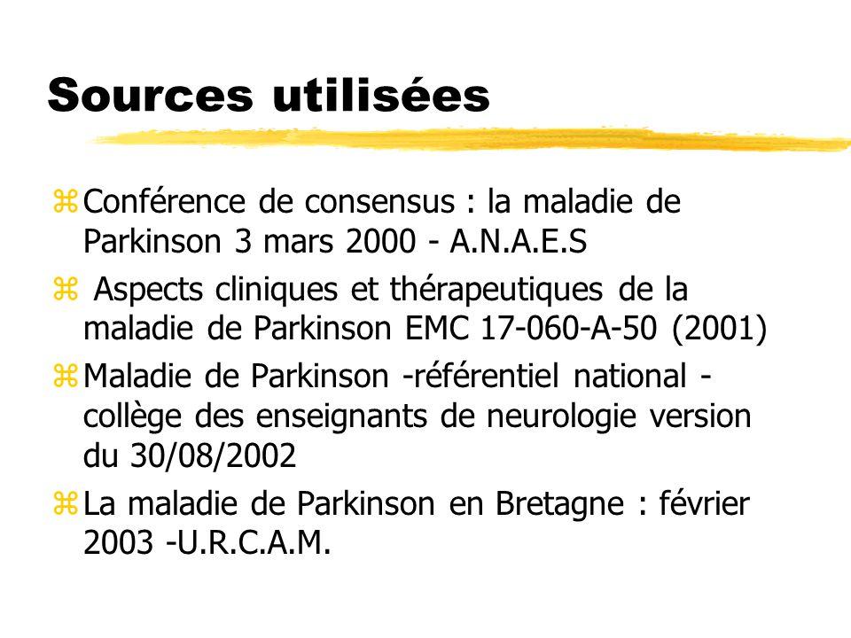 Sources utilisées zConférence de consensus : la maladie de Parkinson 3 mars 2000 - A.N.A.E.S z Aspects cliniques et thérapeutiques de la maladie de Pa