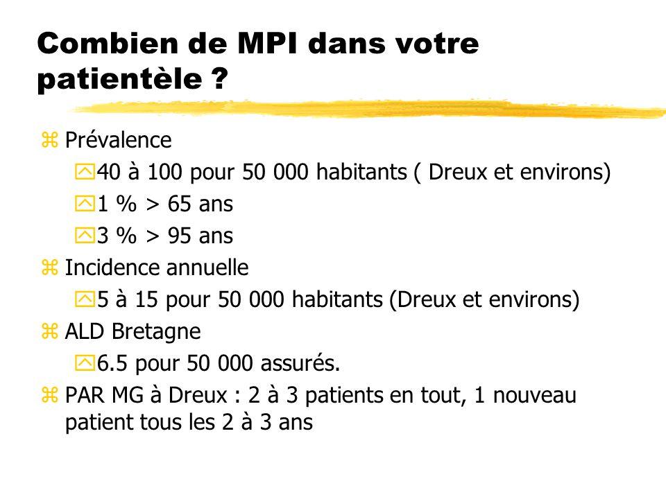 Combien de MPI dans votre patientèle ? zPrévalence y40 à 100 pour 50 000 habitants ( Dreux et environs) y1 % > 65 ans y3 % > 95 ans zIncidence annuell
