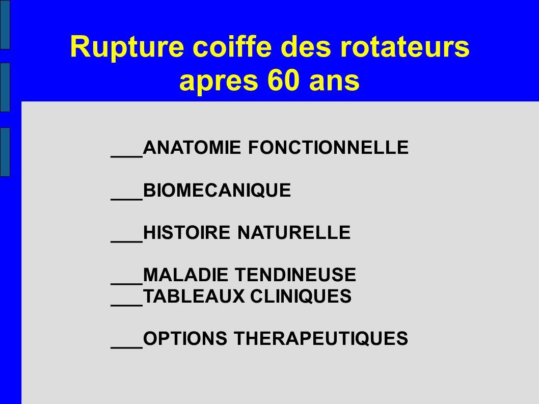 Rupture coiffe des rotateurs apres 60 ans ___ANATOMIE FONCTIONNELLE ___BIOMECANIQUE ___HISTOIRE NATURELLE ___MALADIE TENDINEUSE ___TABLEAUX CLINIQUES