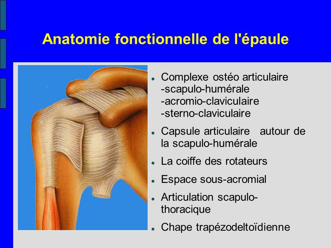 Anatomie fonctionnelle de l'épaule Double-clic pour insérer une image Complexe ostéo articulaire -scapulo-humérale -acromio-claviculaire -sterno-clavi