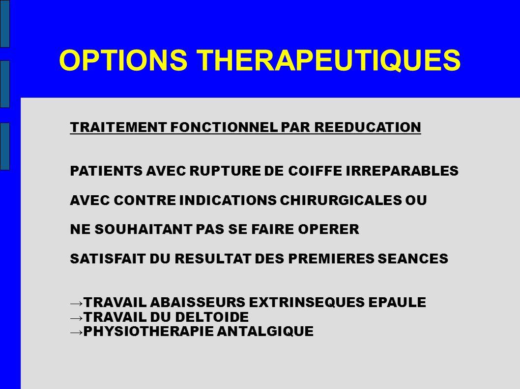 OPTIONS THERAPEUTIQUES TRAITEMENT FONCTIONNEL PAR REEDUCATION PATIENTS AVEC RUPTURE DE COIFFE IRREPARABLES AVEC CONTRE INDICATIONS CHIRURGICALES OU NE