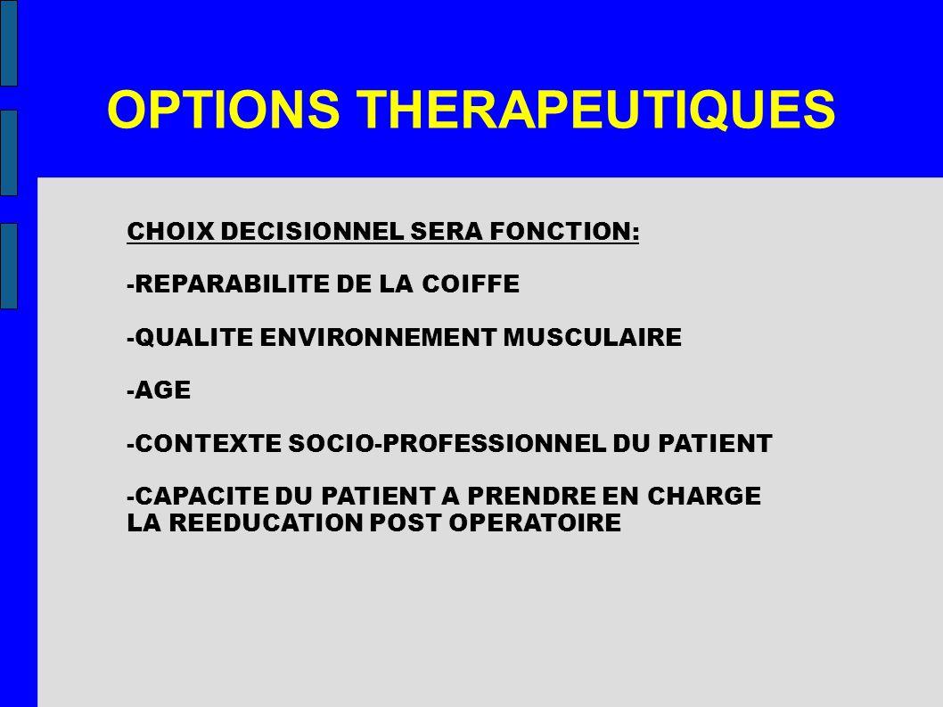 OPTIONS THERAPEUTIQUES CHOIX DECISIONNEL SERA FONCTION: -REPARABILITE DE LA COIFFE -QUALITE ENVIRONNEMENT MUSCULAIRE -AGE -CONTEXTE SOCIO-PROFESSIONNE