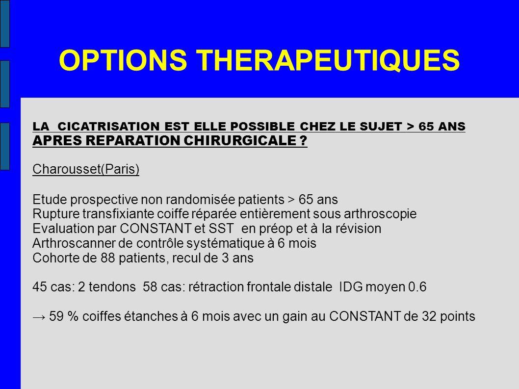 OPTIONS THERAPEUTIQUES LA CICATRISATION EST ELLE POSSIBLE CHEZ LE SUJET > 65 ANS APRES REPARATION CHIRURGICALE ? Charousset(Paris) Etude prospective n