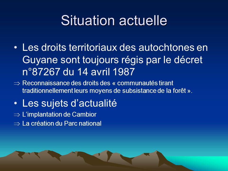 Situation actuelle Les droits territoriaux des autochtones en Guyane sont toujours régis par le décret n°87267 du 14 avril 1987 Reconnaissance des droits des « communautés tirant traditionnellement leurs moyens de subsistance de la forêt ».