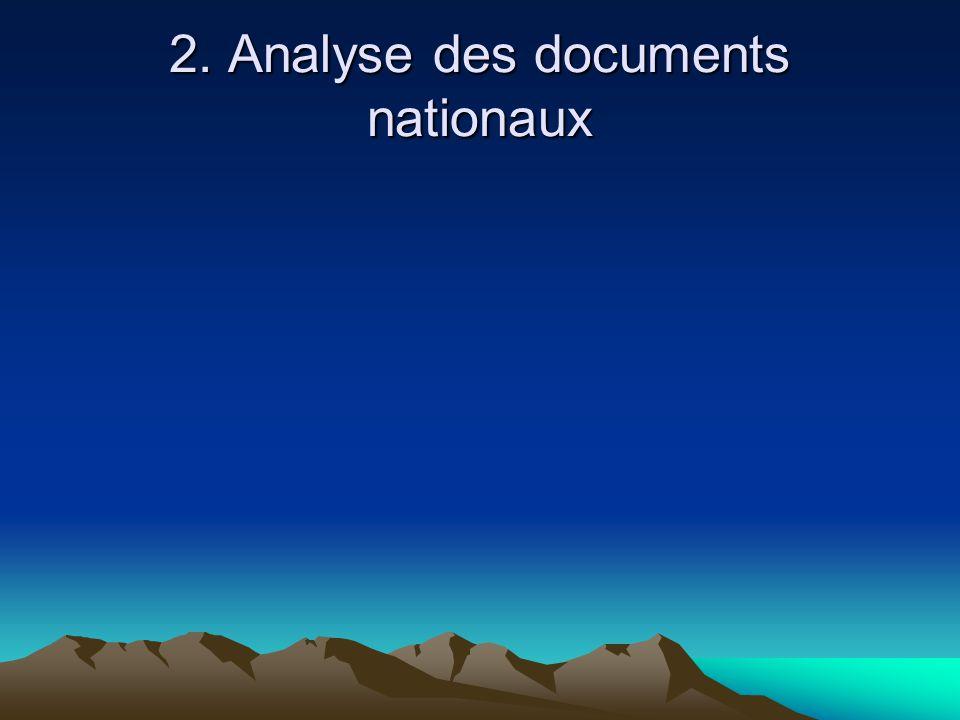 2. Analyse des documents nationaux