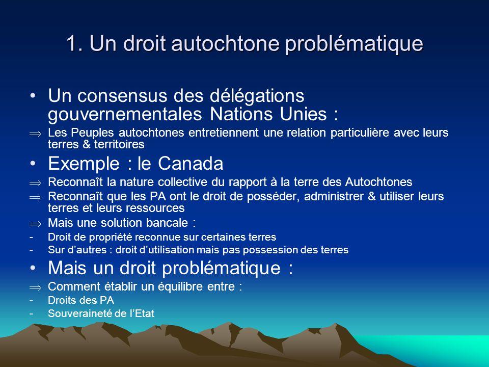 1. Un droit autochtone problématique Un consensus des délégations gouvernementales Nations Unies : Les Peuples autochtones entretiennent une relation