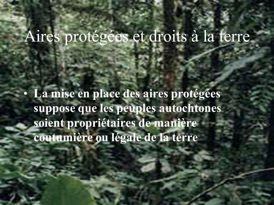 Aires protégées et droits à la terre La mise en place des aires protégées suppose que les peuples autochtones soient propriétaires de manière coutumière ou légale de la terre
