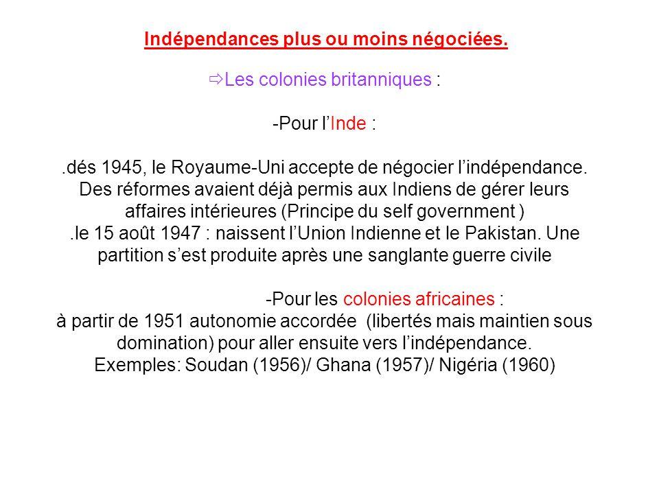 Indépendances plus ou moins négociées.
