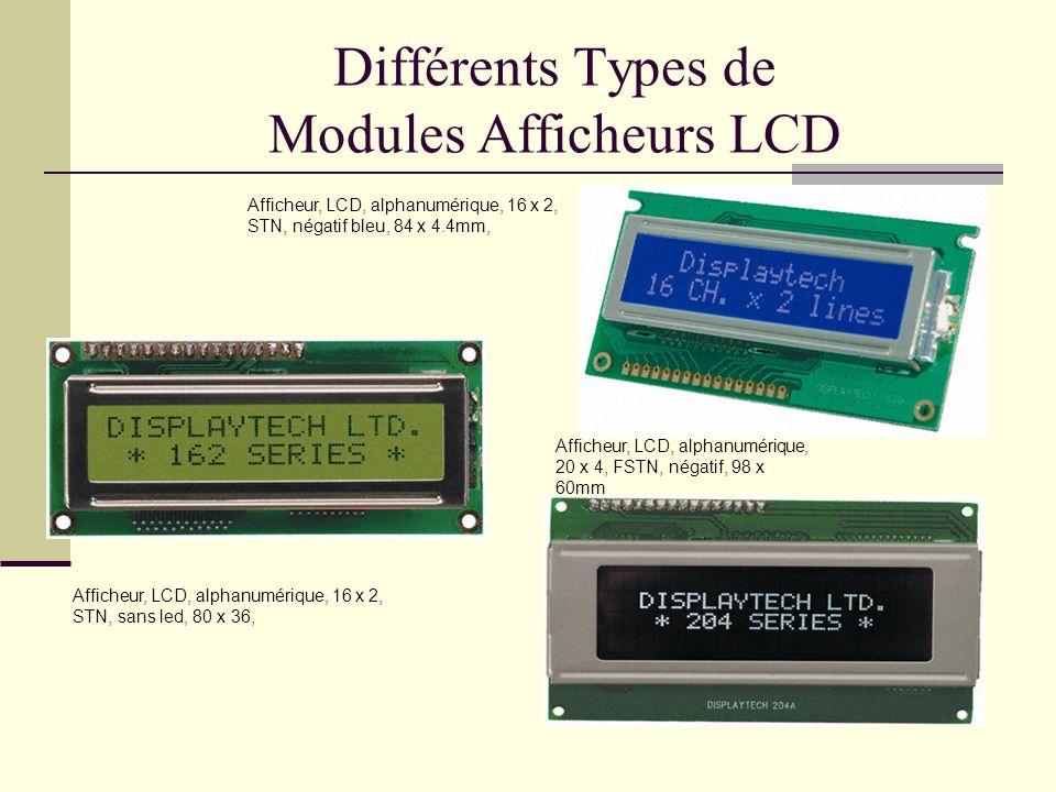 Différents Types de Modules Afficheurs LCD Afficheur, LCD, alphanumérique, 16 x 2, STN, négatif bleu, 84 x 4.4mm, Afficheur, LCD, alphanumérique, 16 x 2, STN, sans led, 80 x 36, Afficheur, LCD, alphanumérique, 20 x 4, FSTN, négatif, 98 x 60mm