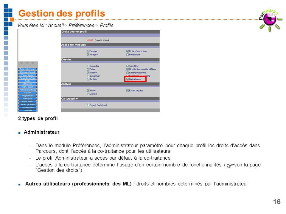 16 Gestion des profils 2 types de profil Administrateur -Dans le module Préférences, ladministrateur paramètre pour chaque profil les droits daccès da