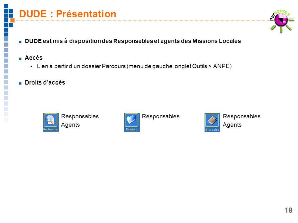 18 DUDE : Présentation DUDE est mis à disposition des Responsables et agents des Missions Locales Accès -Lien à partir dun dossier Parcours (menu de g