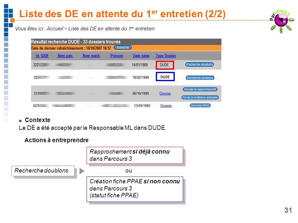31 Liste des DE en attente du 1 er entretien (2/2) Contexte Le DE a été accepté par le Responsable ML dans DUDE. Vous êtes ici : Accueil > Liste des D