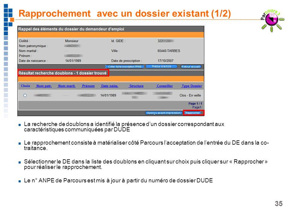 35 Rapprochement avec un dossier existant (1/2) La recherche de doublons a identifié la présence dun dossier correspondant aux caractéristiques commun