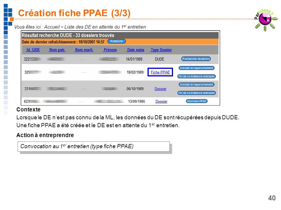 40 Création fiche PPAE (3/3) Vous êtes ici : Accueil > Liste des DE en attente du 1 er entretien Contexte Lorsque le DE nest pas connu de la ML, les d