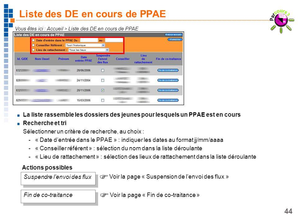 44 Liste des DE en cours de PPAE Vous êtes ici : Accueil > Liste des DE en cours de PPAE La liste rassemble les dossiers des jeunes pour lesquels un P