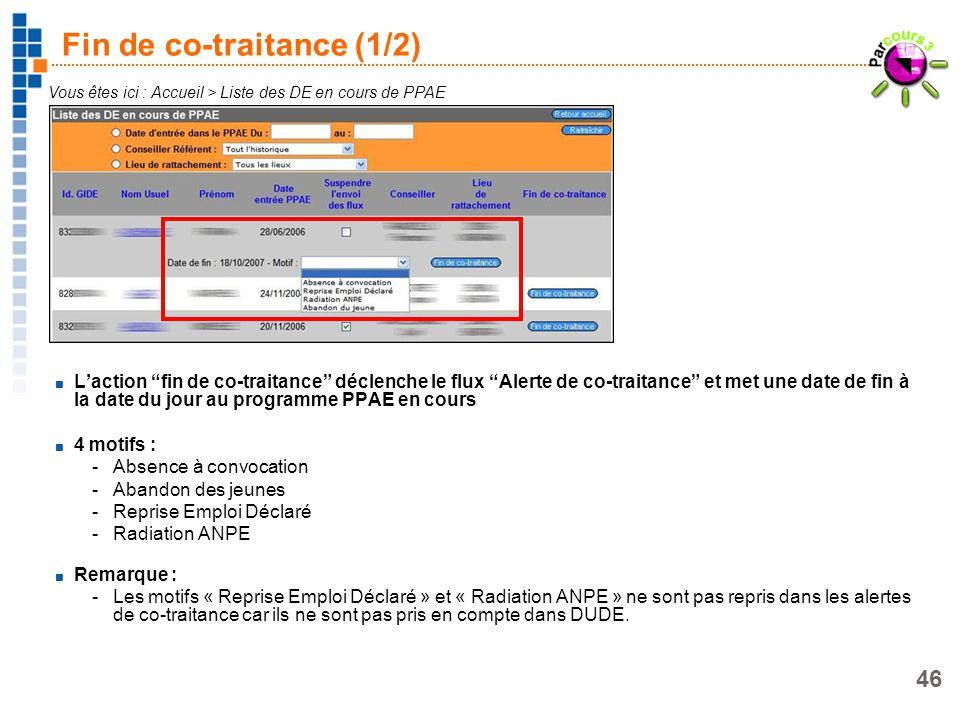 46 Fin de co-traitance (1/2) Vous êtes ici : Accueil > Liste des DE en cours de PPAE Laction fin de co-traitance déclenche le flux Alerte de co-traita