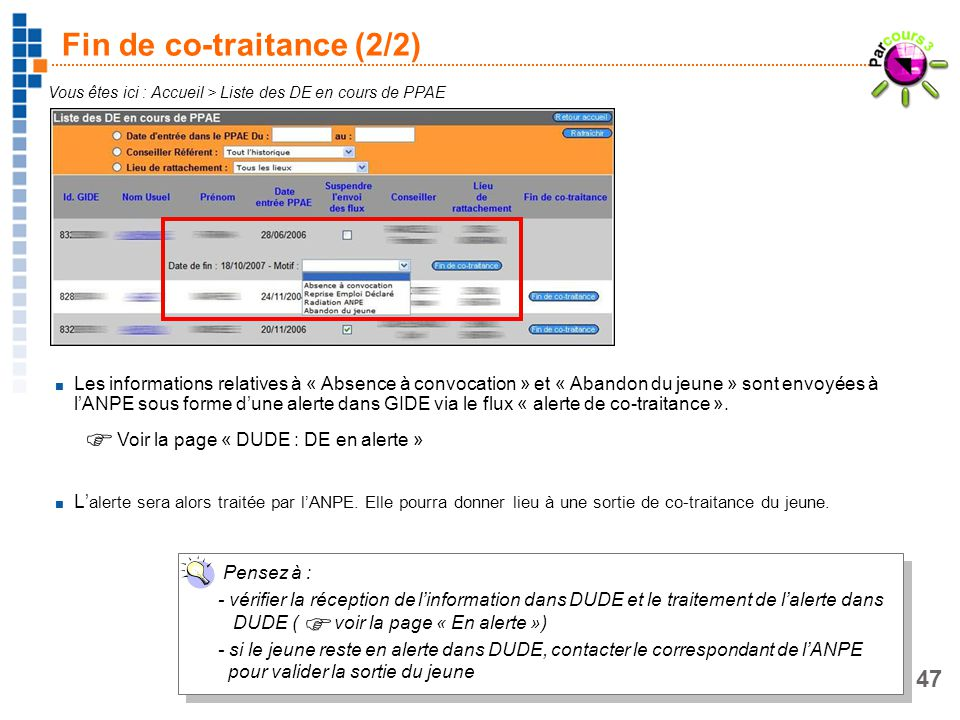 47 Fin de co-traitance (2/2) Vous êtes ici : Accueil > Liste des DE en cours de PPAE Les informations relatives à « Absence à convocation » et « Aband