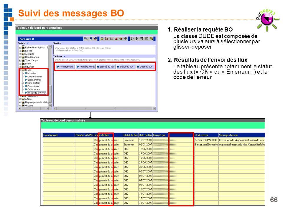 66 Suivi des messages BO 1. Réaliser la requête BO La classe DUDE est composée de plusieurs valeurs à sélectionner par glisser-déposer 2. Résultats de