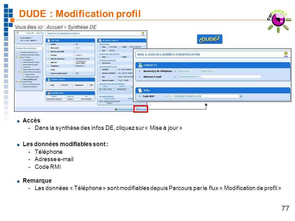 77 DUDE : Modification profil Vous êtes ici : Accueil > Synthèse DE Accès -Dans la synthèse des infos DE, cliquez sur « Mise à jour » Les données modi