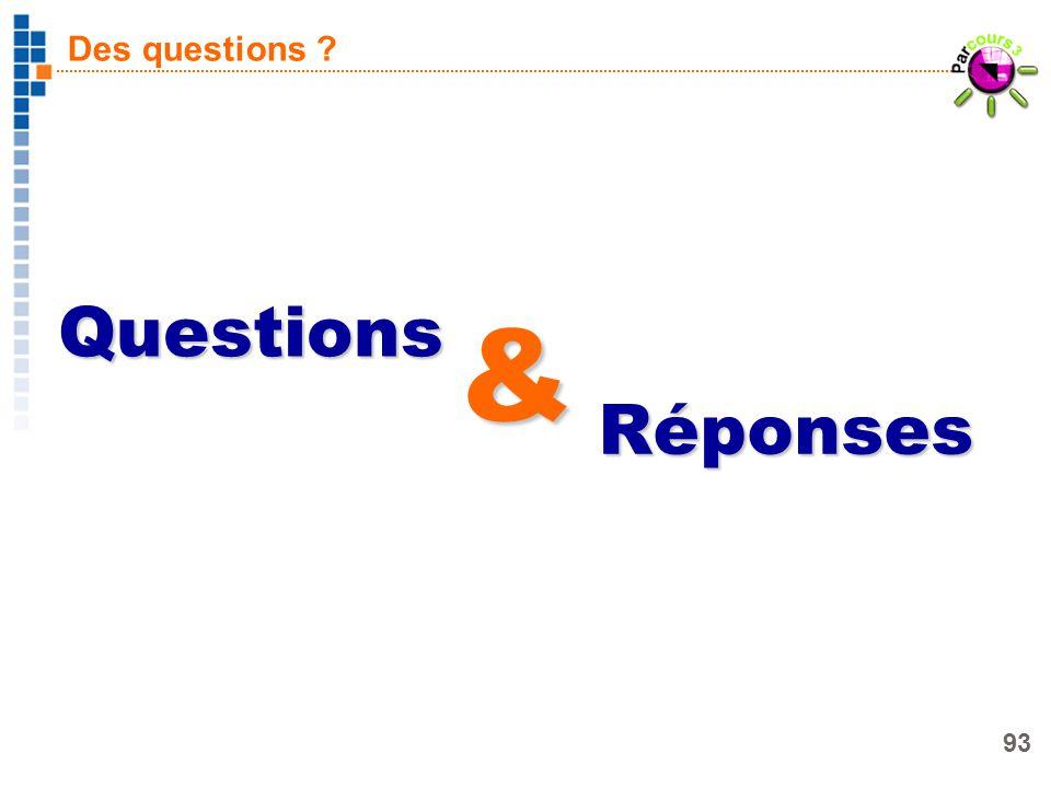 93 Des questions ? Questions Réponses &