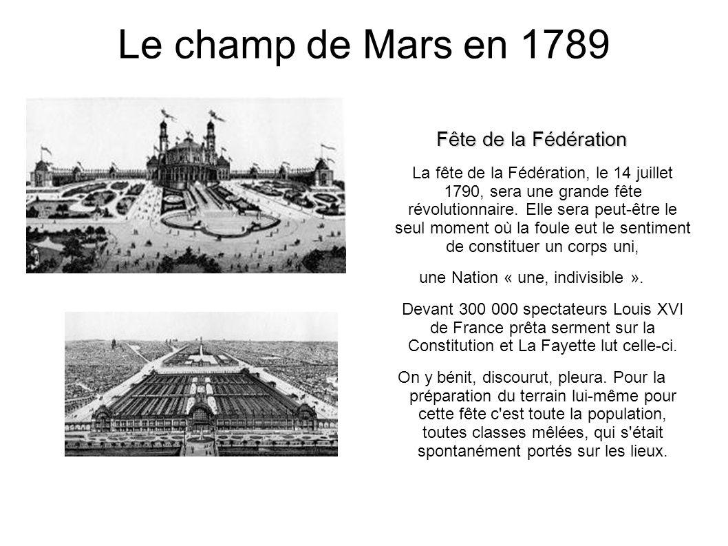 Le champ de Mars en 1789 Fête de la Fédération La fête de la Fédération, le 14 juillet 1790, sera une grande fête révolutionnaire.