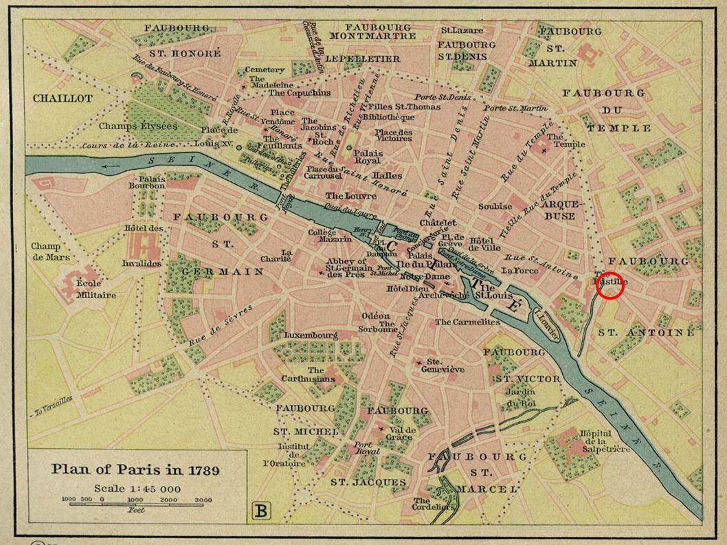 La Bastille La prise de la Bastille : Le 12 juillet 1789 jaillit l étincelle, le peuple marche sur la Bastille pour y trouver armes et munitions.