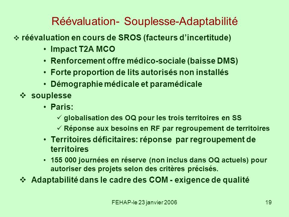 FEHAP-le 23 janvier 200619 Réévaluation- Souplesse-Adaptabilité réévaluation en cours de SROS (facteurs dincertitude) Impact T2A MCO Renforcement offr