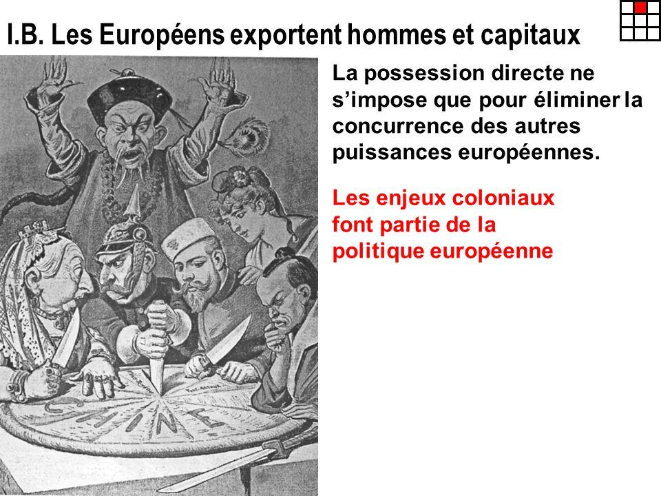 I.B. Les Européens exportent hommes et capitaux La possession directe ne simpose que pour éliminer la concurrence des autres puissances européennes. L
