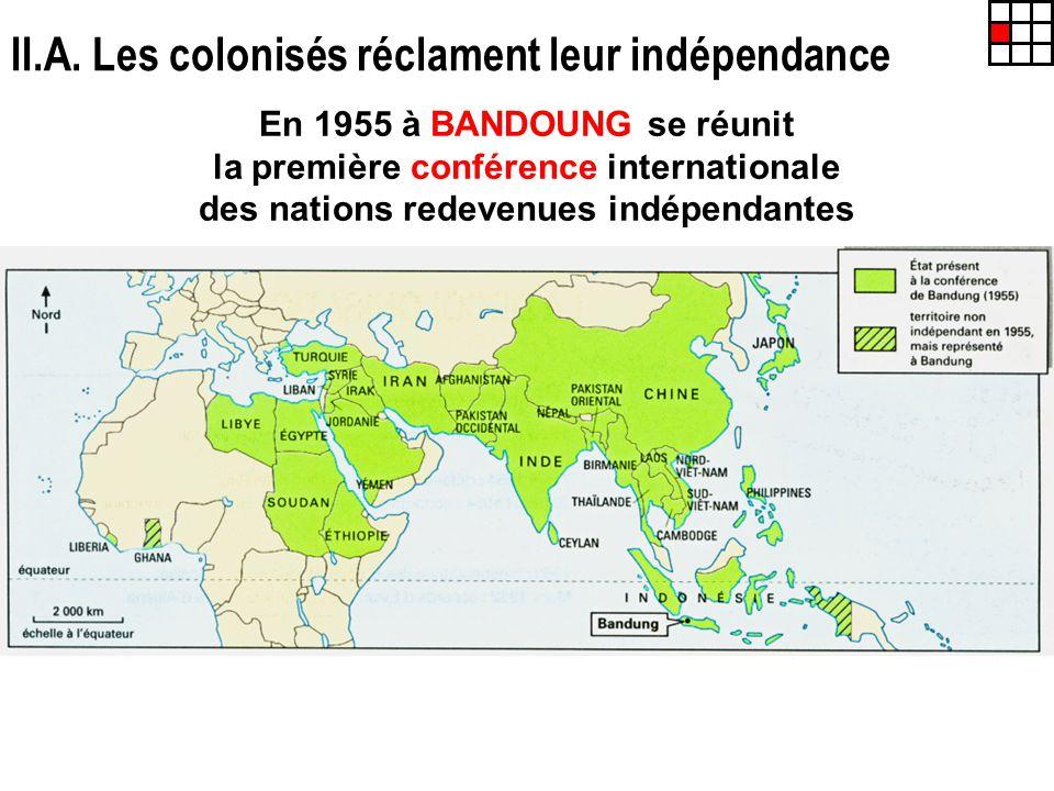 II.A. Les colonisés réclament leur indépendance En 1955 à BANDOUNG se réunit la première conférence internationale des nations redevenues indépendante