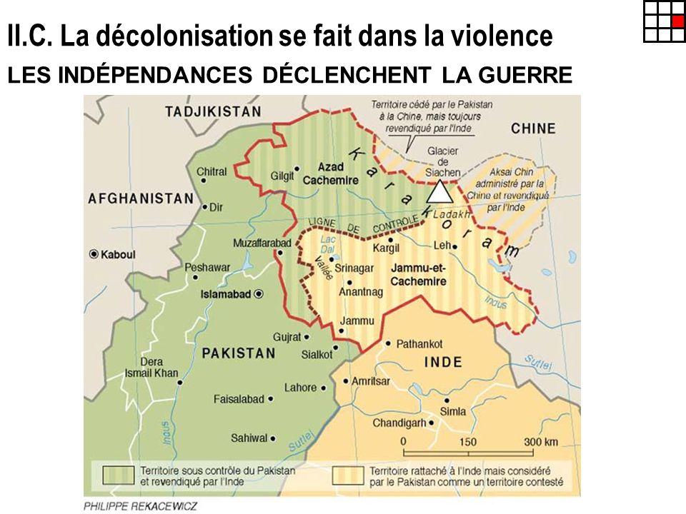 II.C. La décolonisation se fait dans la violence LES INDÉPENDANCES DÉCLENCHENT LA GUERRE