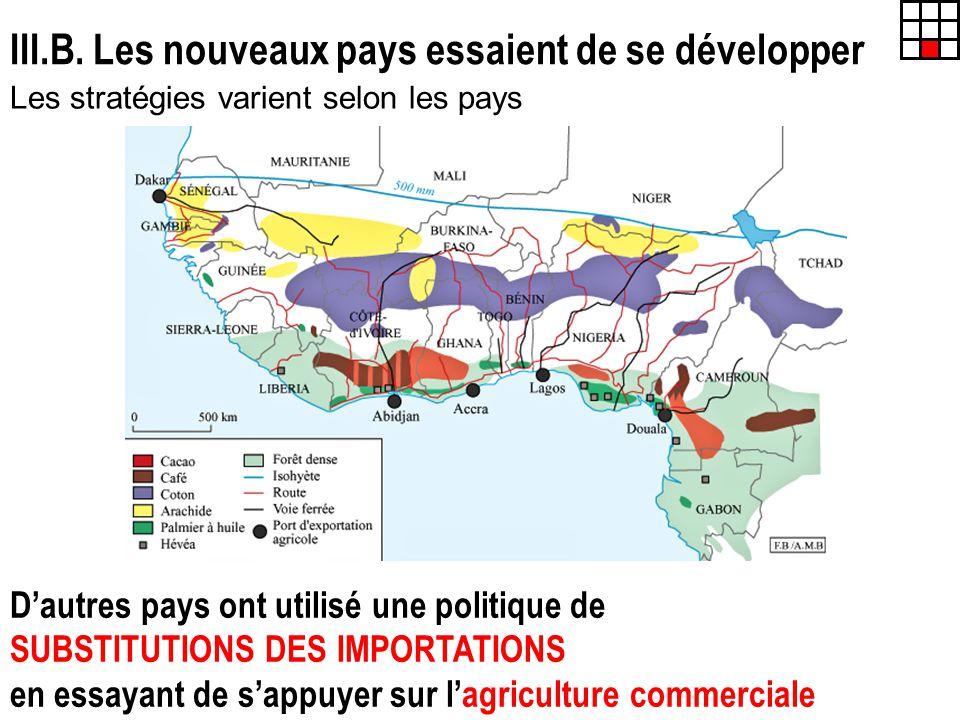 III.B. Les nouveaux pays essaient de se développer Les stratégies varient selon les pays Dautres pays ont utilisé une politique de SUBSTITUTIONS DES I