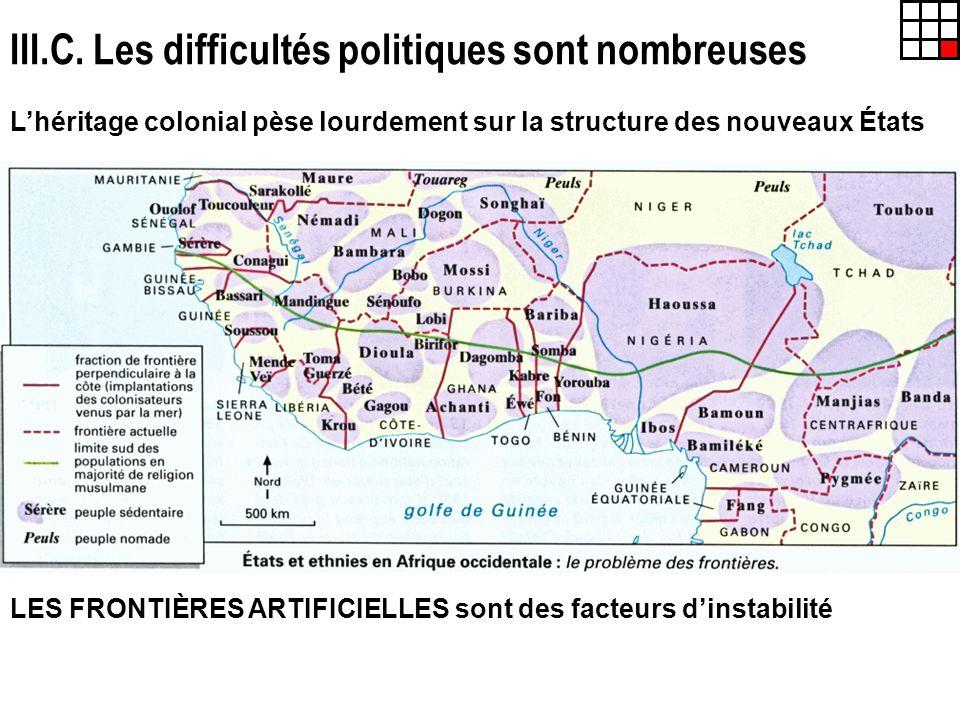 III.C. Les difficultés politiques sont nombreuses Lhéritage colonial pèse lourdement sur la structure des nouveaux États LES FRONTIÈRES ARTIFICIELLES