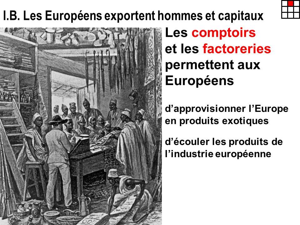 I.B. Les Européens exportent hommes et capitaux Les comptoirs et les factoreries permettent aux Européens dapprovisionner lEurope en produits exotique