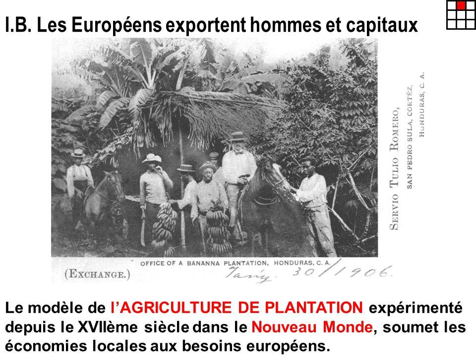 I.B. Les Européens exportent hommes et capitaux Le modèle de lAGRICULTURE DE PLANTATION expérimenté depuis le XVIIème siècle dans le Nouveau Monde, so