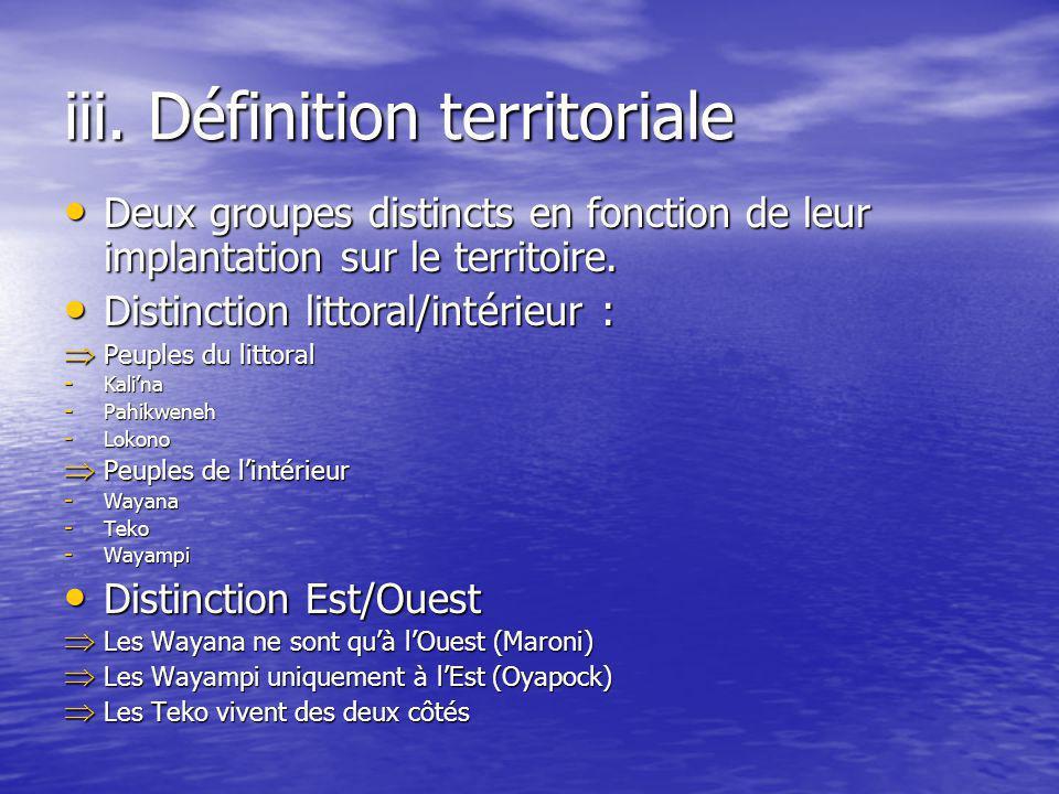 iii. Définition territoriale Deux groupes distincts en fonction de leur implantation sur le territoire. Deux groupes distincts en fonction de leur imp