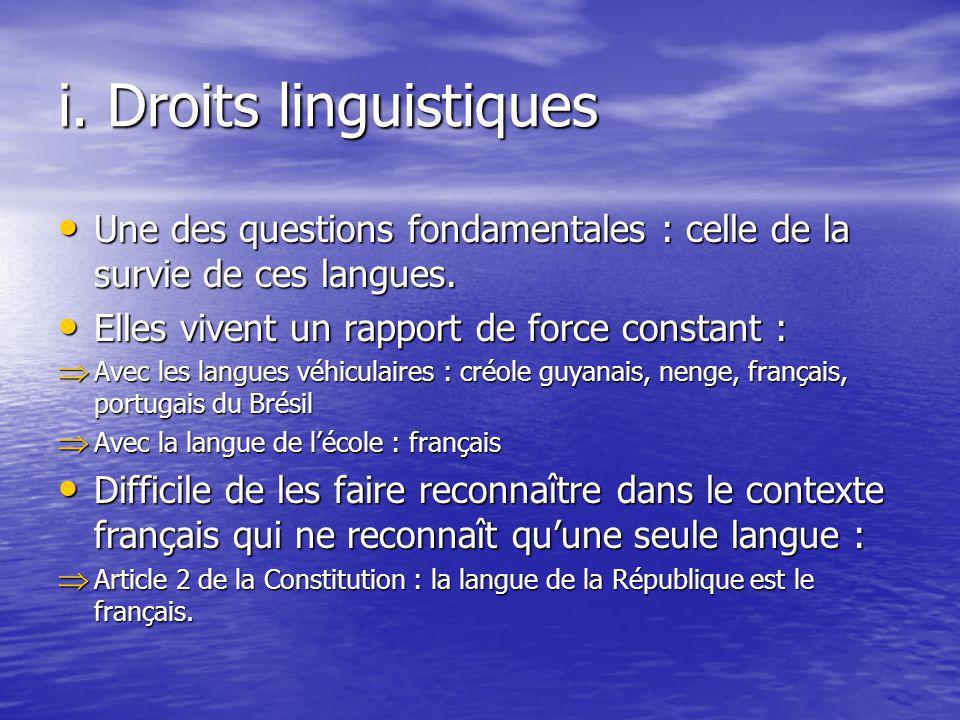i. Droits linguistiques Une des questions fondamentales : celle de la survie de ces langues. Une des questions fondamentales : celle de la survie de c