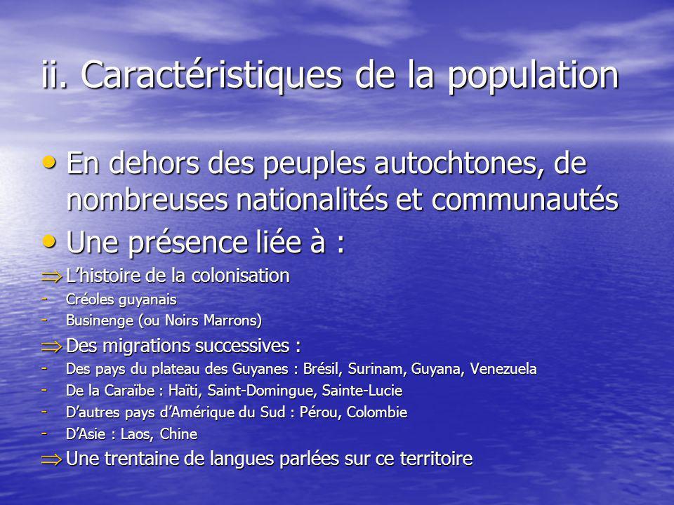 ii. Caractéristiques de la population En dehors des peuples autochtones, de nombreuses nationalités et communautés En dehors des peuples autochtones,