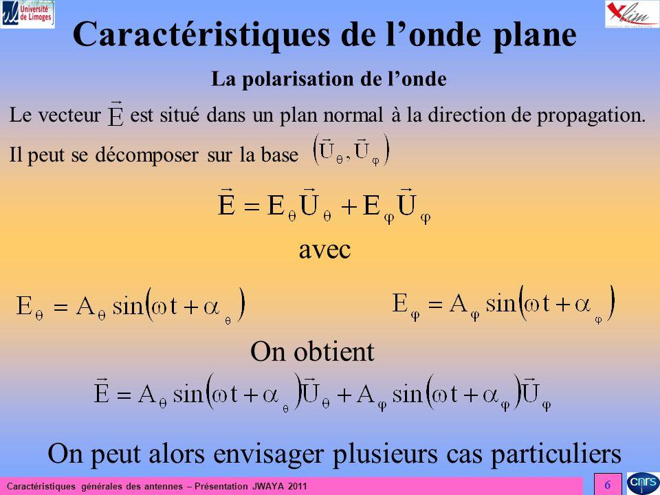 Caractéristiques générales des antennes – Présentation JWAYA 2011 7 Caractéristiques de londe plane La polarisation de londe Cas particulier où les deux composantes vibrent en phase : La direction de E est constante dans le temps : Polarisation linéaire