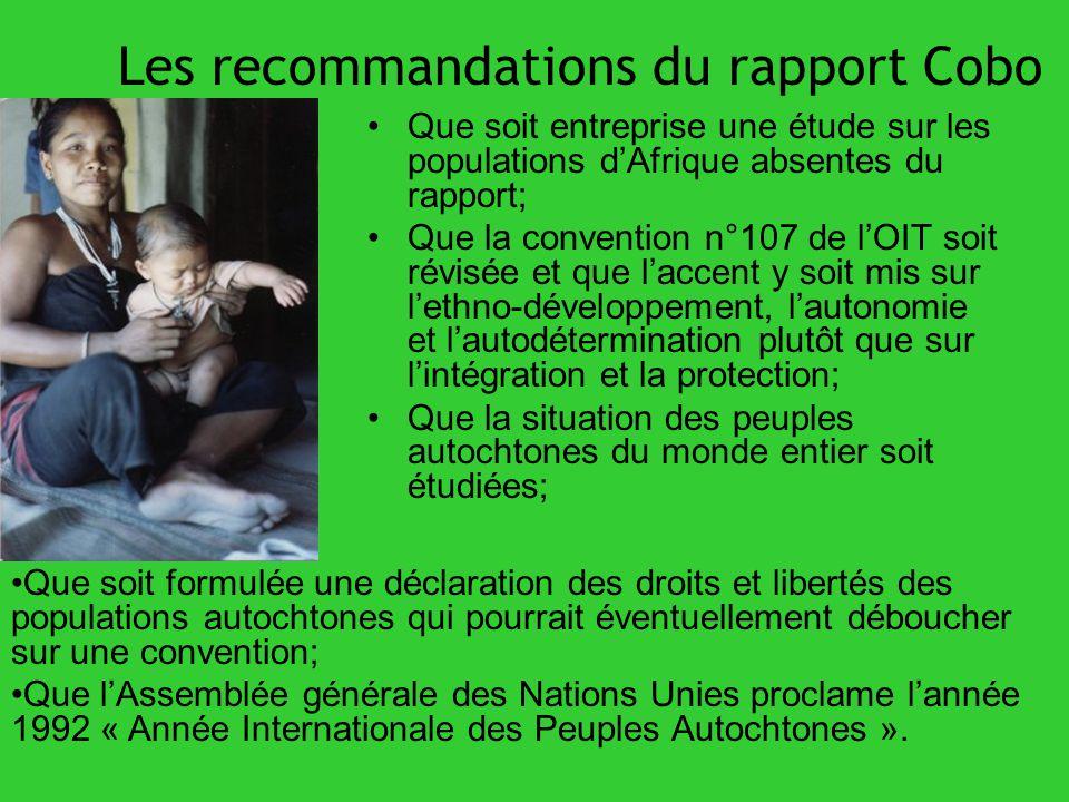 Les recommandations du rapport Cobo Que soit entreprise une étude sur les populations dAfrique absentes du rapport; Que la convention n°107 de lOIT so