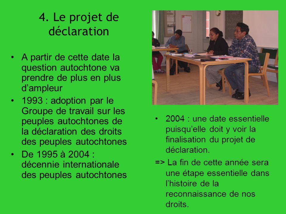 4. Le projet de déclaration A partir de cette date la question autochtone va prendre de plus en plus dampleur 1993 : adoption par le Groupe de travail