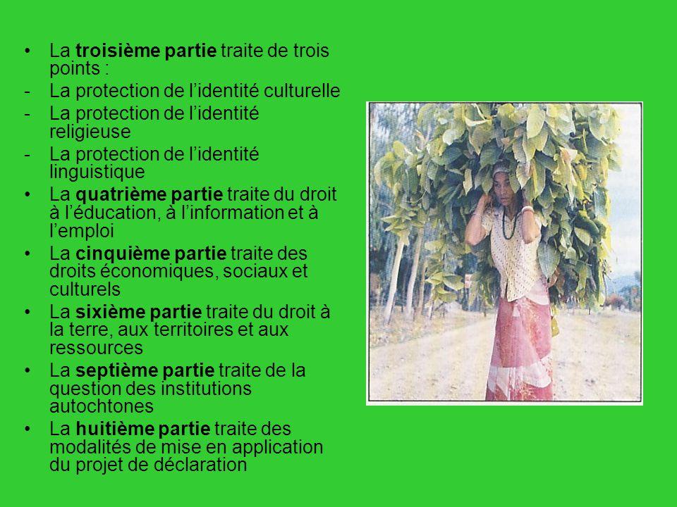 La troisième partie traite de trois points : -La protection de lidentité culturelle -La protection de lidentité religieuse -La protection de lidentité