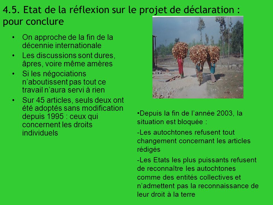 4.5. Etat de la réflexion sur le projet de déclaration : pour conclure On approche de la fin de la décennie internationale Les discussions sont dures,