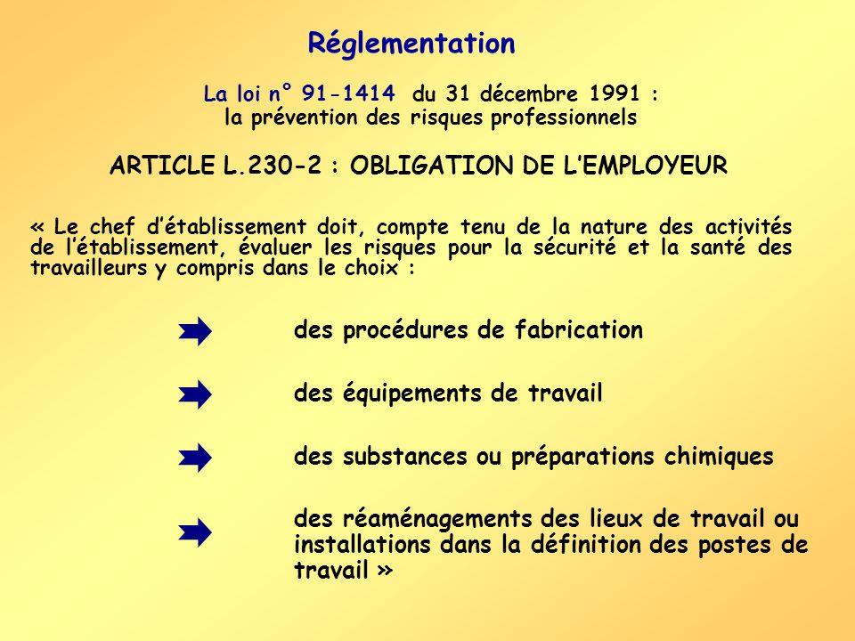 Réglementation La loi n° 91-1414 du 31 décembre 1991 : la prévention des risques professionnels « Le chef détablissement doit, compte tenu de la natur