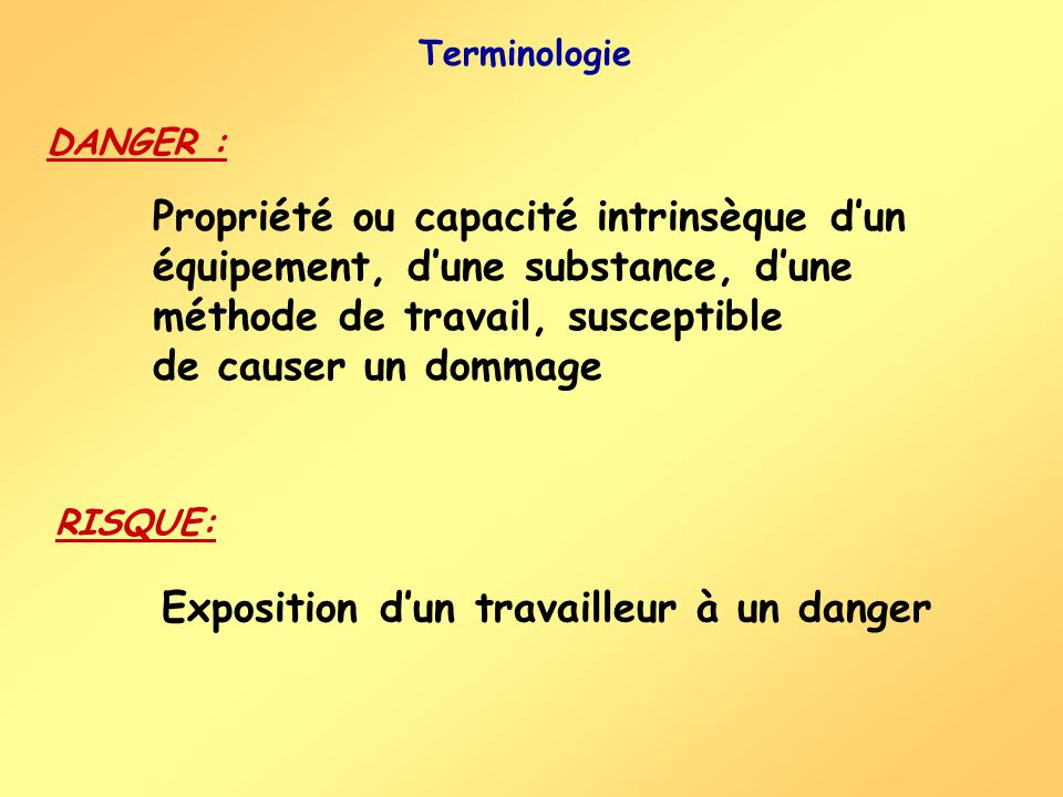 Propriété ou capacité intrinsèque dun équipement, dune substance, dune méthode de travail, susceptible de causer un dommage Exposition dun travailleur à un danger Terminologie DANGER : RISQUE: