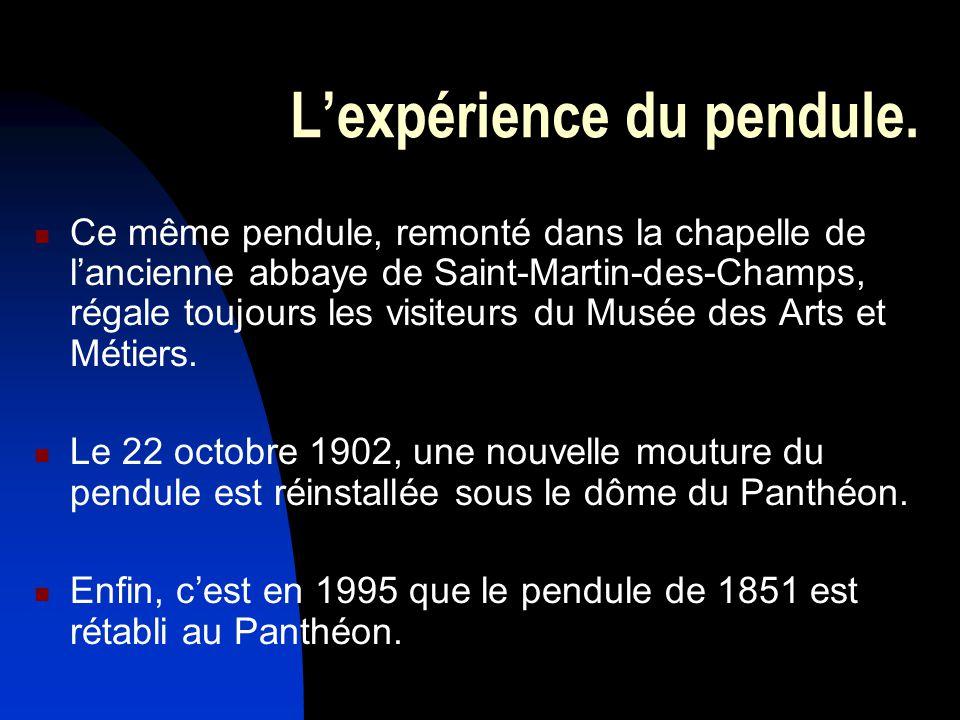 Lexpérience du pendule. Ce même pendule, remonté dans la chapelle de lancienne abbaye de Saint-Martin-des-Champs, régale toujours les visiteurs du Mus